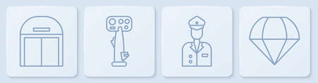 Set line Aircraft hangar, Pilot, Aircraft steering helm and Parachute. White square button. Vector Illustration