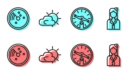 Set line Compass, Radar with targets on monitor, Sun and cloud weather and Stewardess icon. Vector