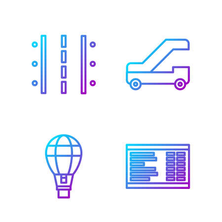 Set line Airport board, Hot air balloon, Airport runway and Passenger ladder for plane boarding. Gradient color icons. Vector Illustration