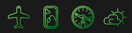 Set line Compass, Plane, Airplane window and Sun and cloud weather. Gradient color icons. Vector Illustration