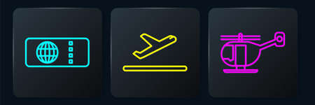 Set line Airline ticket, Helicopter and Plane takeoff. Black square button. Vector Illustration