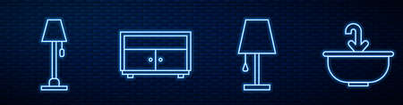 Set line Table lamp, Floor lamp, Chest of drawers and Washbasin with water tap. Glowing neon icon on brick wall. Vector