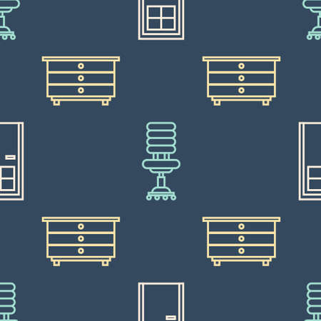 Set line Closed door, Chest of drawers and Office chair on seamless pattern. Vector