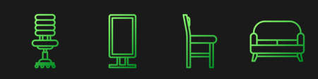 Set line Chair, Office chair, Big full length mirror and Sofa. Gradient color icons. Vector