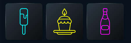 Set line Ice cream, Champagne bottle and Cake with burning candles. Black square button. Vector