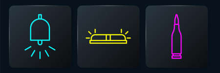 Set line Ringing alarm bell, Bullet and Flasher siren. Black square button. Vector 일러스트