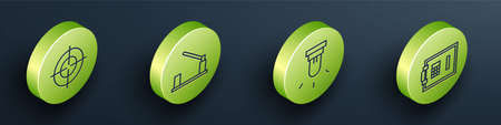 Set Isometric Target sport, Parking car barrier, Motion sensor and Safe icon. Vector