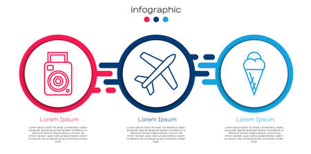 Set line Photo camera, Plane and Ice cream in waffle cone. Business infographic template. Vector