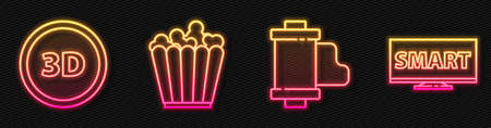 Set line Camera vintage film roll cartridge, 3D word, Popcorn in box and Screen tv with Smart video. Glowing neon icon. Vector Ilustracja