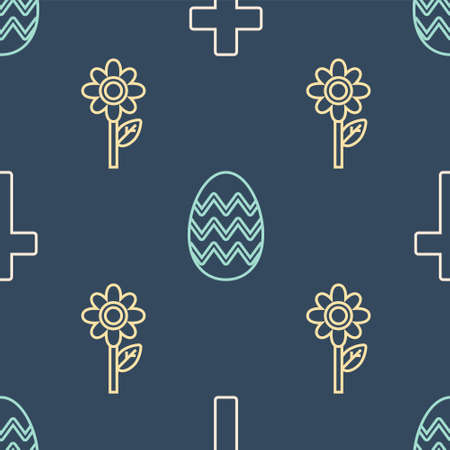 Set line Christian cross, Flower and Easter egg on seamless pattern. Vector  イラスト・ベクター素材