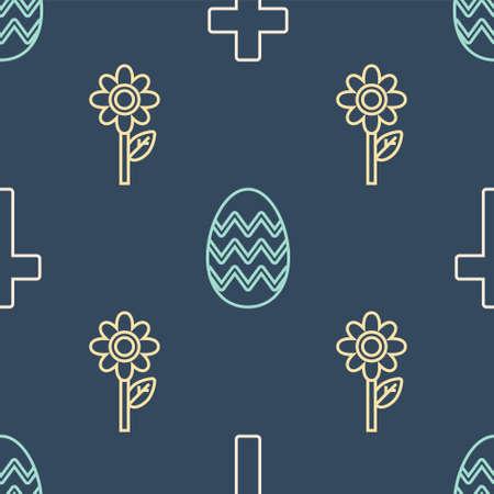 Set line Christian cross, Flower and Easter egg on seamless pattern. Vector Ilustracja