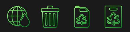 Set line Eco fuel canister, Earth planet in water drop, Trash can and Paper bag with recycle. Gradient color icons. Vector