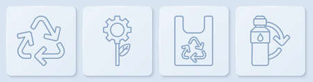 Set line Recycle symbol, Plastic bag with recycle, Leaf plant in gear machine and Recycling plastic bottle. White square button. Vector