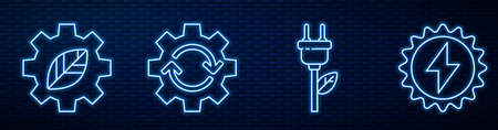 Set line Electric saving plug in leaf, Leaf plant in gear machine, Gear and arrows as workflow and Solar energy panel. Glowing neon icon on brick wall. Vector 일러스트