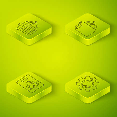 Set Isometric Eco fuel canister, Paper bag with recycle, Gear and arrows as workflow and Recycle bin with recycle icon. Vector