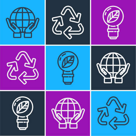 Set line Hands holding Earth globe, Light bulb with leaf and Recycle symbol icon. Vector
