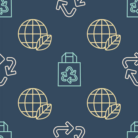 Set line Recycle symbol, Earth globe and leaf and Paper bag with recycle on seamless pattern. Vector Ilustracja