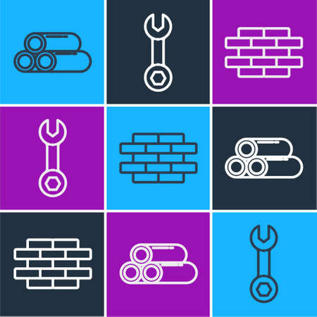 Set line Industry metallic pipe, Bricks and Wrench spanner icon. Vector