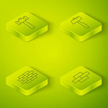 Set Isometric Hammer, Bricks, Bricks and Hammer icon. Vector Stock Illustratie