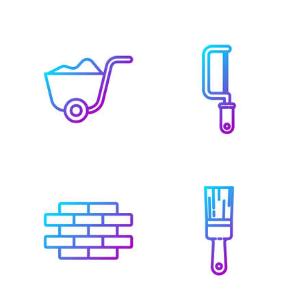 Set line Paint brush, Bricks, Shovel and Hacksaw. Gradient color icons. Vector