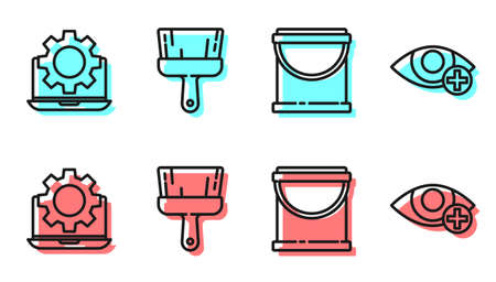 Set line Paint bucket, Laptop and gear, Paint brush and Red eye effect icon. Vector