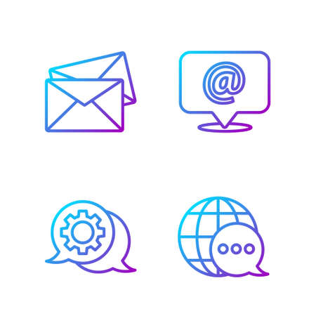 Set line World map made from speech bubble, Speech bubble chat, Envelope and Mail and e-mail. Gradient color icons. Vector