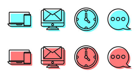 Set line Clock, Monitor and phone, Monitor and envelope and Speech bubble chat icon. Vector