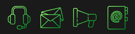 Set line Megaphone, Headphones, Envelope and Address book. Gradient color icons. Vector