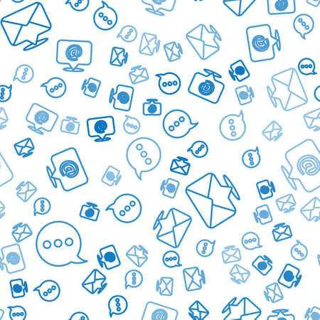 Set line Speech bubble chat, Envelope and Mail and e-mail on seamless pattern. Vector