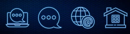 Set line Earth globe with mail, Chat messages notification on laptop, Speech bubble chat and House. Glowing neon icon on brick wall. Vector