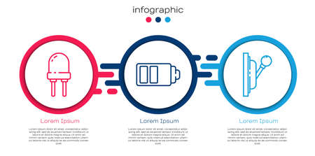Set line Light emitting diode, Battery charge level indicator and Electrical panel. Business infographic template. Vector