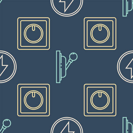 Set line Lightning bolt, Electric light switch and Electrical panel on seamless pattern. Vector
