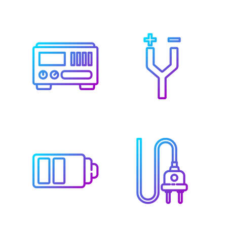 Set line Electric plug, Battery charge level indicator, Electrical measuring instruments and Electric cable. Gradient color icons. Vector Ilustrace