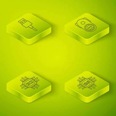 Set Isometric Electrical outlet, Processor with microcircuits CPU, Processor with microcircuits CPU and USB cable cord icon. Vector