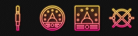 Set line Ampere meter, multimeter, voltmeter, Audio jack, Ampere meter, multimeter, voltmeter and Electric circuit scheme. Glowing neon icon. Vector