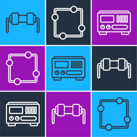 Set line Resistor electricity, Electrical measuring instruments and Electric circuit scheme icon. Vector