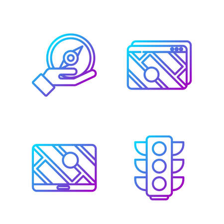 Set line Traffic light, City map navigation, Compass and Infographic of city map navigation. Gradient color icons. Vector