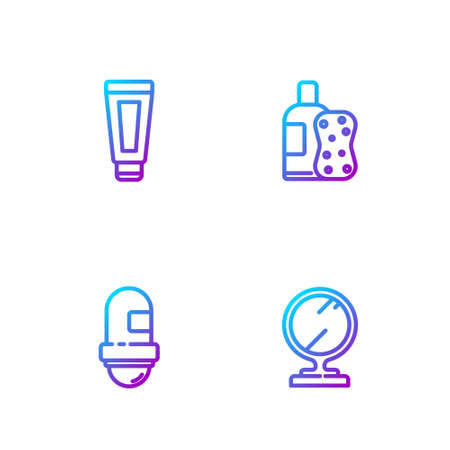 Set line Round makeup mirror, Antiperspirant deodorant roll, Cream lotion cosmetic tube and Bottle of shampoo and sponge. Gradient color icons. Vector