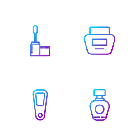 Set line Perfume, Hand mirror, Mascara brush and Cream lotion cosmetic tube. Gradient color icons. Vector