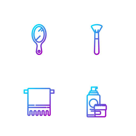 Set line Cream or lotion cosmetic tube, Towel hanger, Hand mirror and Makeup brush. Gradient color icons. Vector