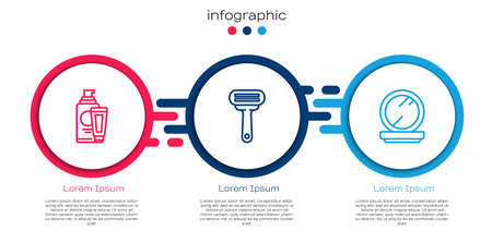 Set line Cream or lotion cosmetic tube, Shaving razor and Makeup powder with mirror. Business infographic template. Vector