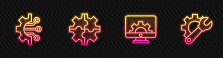 Set line Computer monitor and gear, Algorithm, Gear and Wrench spanner. Glowing neon icon. Vector
