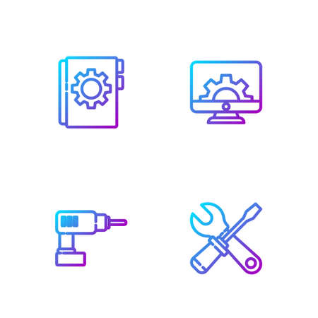 Set line Screwdriver and wrench spanner, Electric drill machine, User manual and Computer monitor gear. Gradient color icons. Vector