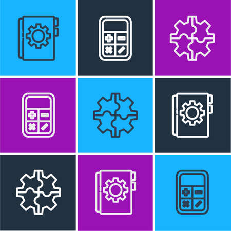 Set line User manual, Gear and Calculator icon. Vector