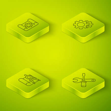Set Isometric Gear, Graphing paper and compass, Screwdriver wrench spanner and gear icon. Vector