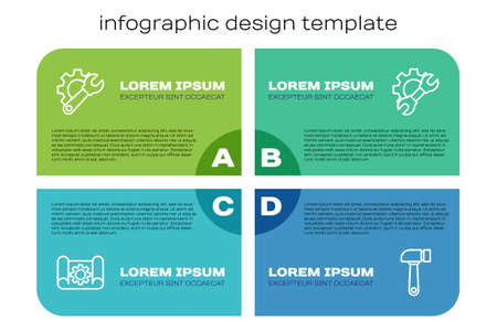 Set line Graphing paper and gear, Wrench spanner, Hammer and . Business infographic template. Vector 일러스트