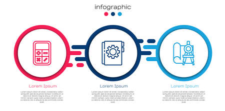 Set line Calculator, User manual and Graphing paper and compass. Business infographic template. Vector
