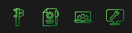 Set line Laptop and gear, Calliper or caliper scale, Document settings pen and Location with wrench spanner. Gradient color icons. Vector