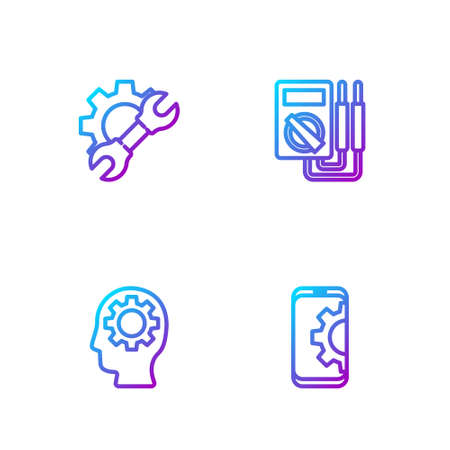 Set line Setting on smartphone, Human head with gear inside, Wrench spanner and and Multimeter. Gradient color icons. Vector 일러스트