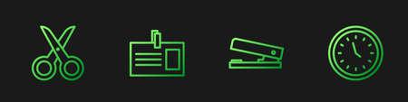 Set line Office stapler, Scissors, Identification badge and Clock. Gradient color icons. Vector